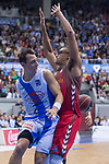 San Pablo Burgos Sebas Saiz and Gipuzkoa Basket Fede Van Lacke during Liga Endesa match between San Pablo Burgos and Gipuzkoa Basket at Coliseum Burgos in Burgos, Spain. December 30, 2017. (ALTERPHOTOS/Borja B.Hojas)