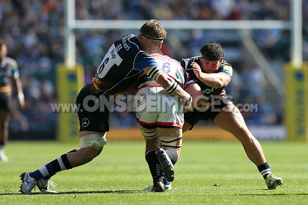 Tom Ellis and Nathan Catt of Bath Rugby put in a double-tackle. The Clash, Aviva Premiership match, between Bath Rugby and Leicester Tigers on April 8, 2017 at Twickenham Stadium in London, England. Photo by: Rogan Thomson / JMP for Onside Images