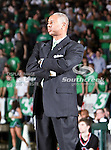 North Texas Mean Green head coach Johnny Jones watches his team during the NCAA  basketball game between the Arkansas State Red Wolves and the University of North Texas Mean Green at the North Texas Coliseum,the Super Pit, in Denton, Texas. UNT defeated Arkansas State 83 to 64..