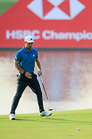 Xander Schauffele (USA) on the 9th green during round 1 at the WGC HSBC Champions, Sheshan Golf Club, Shanghai, China. 31/10/2019.<br /> Picture Fran Caffrey / Golffile.ie<br /> <br /> All photo usage must carry mandatory copyright credit (© Golffile | Fran Caffrey)