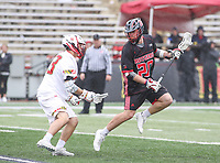 College Park, MD - April 15, 2018: Rutgers Scarlet Knights Casey Rose (20) in action during game between Rutgers and Maryland at  Capital One Field at Maryland Stadium in College Park, MD.  (Photo by Elliott Brown/Media Images International)