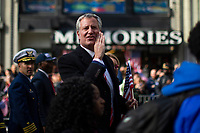 NEW YORK, USA - November 11: NYC bayou Bill De Blasio attends the 100 Veterans Day parade on November 11, 2019 in New York, USA. President Donald Trump, the first sitting U.S. president attended New York's parade, where he offered a tribute to veterans ahead of the 100th annual parade  (Photo by Eduardo MunozAlvarez/VIEWpress)