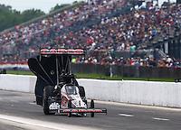 Apr 25, 2015; Baytown, TX, USA; NHRA top fuel driver Steve Torrence during qualifying for the Spring Nationals at Royal Purple Raceway. Mandatory Credit: Mark J. Rebilas-
