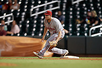 Chattanooga Lookouts first baseman Gavin LaValley (15) stretches for a throw during a Southern League game against the Birmingham Barons on July 24, 2019 at Regions Field in Birmingham, Alabama.  Chattanooga defeated Birmingham 9-1.  (Mike Janes/Four Seam Images)