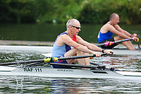 Race: 11  MasD.1x  Quarter-Final<br /> 53  Royal Air Force Rowing Club (Ellis)<br /> 57  Chinook Performance Racing, USA (Kozicz)<br /> <br /> Henley Masters Regatta 2018 - Friday<br /> <br /> To purchase this photo, or to see pricing information for Prints and Downloads, click the blue 'Add to Cart' button at the top-right of the page.