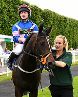 Simply Breathless and Sam Hitchcott are led into the winners enclosure after winning The Bathwick Tyres Novice Auction Stakes(plus 10, Div 2),[ during Afternoon Racing at Salisbury Racecourse on 13th June 2017