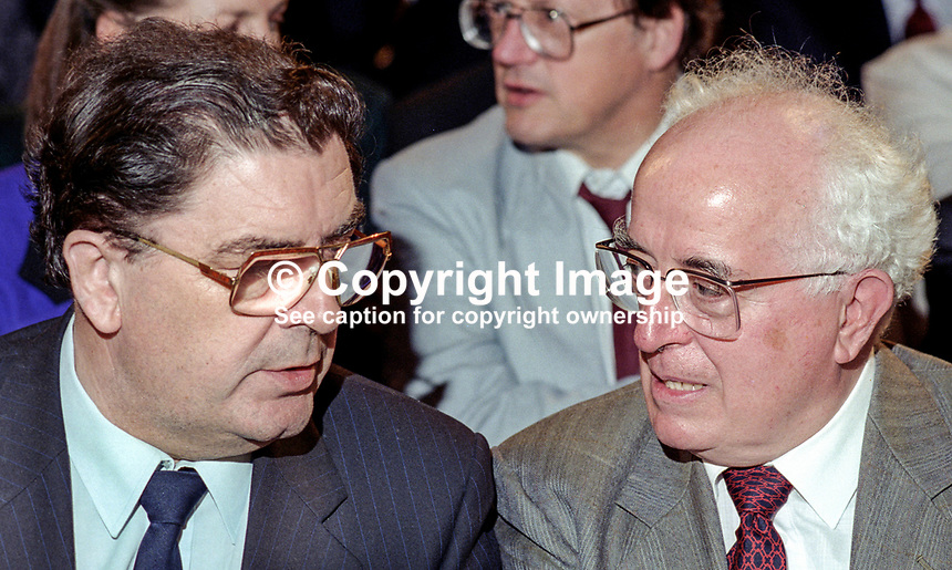 John Hume, leader, SDLP, N Ireland, left, with Kevin McNamara, MP, Labour Party, Shadow Secretary of State for N Ireland, at UK Labour Party annual conference. 199409011.<br />