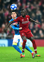 Liverpool's Sadio Mane vies for possession with Napoli's Jose Callejon<br /> <br /> Photographer Richard Martin-Roberts/CameraSport<br /> <br /> UEFA Champions League Group C - Liverpool v Napoli - Tuesday 11th December 2018 - Anfield - Liverpool<br />  <br /> World Copyright © 2018 CameraSport. All rights reserved. 43 Linden Ave. Countesthorpe. Leicester. England. LE8 5PG - Tel: +44 (0) 116 277 4147 - admin@camerasport.com - www.camerasport.com