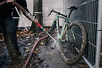 the pit's cleaning station<br /> <br /> Women's race<br /> Superprestige Gavere / Belgium 2017