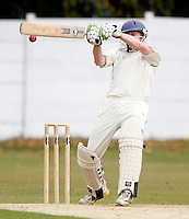 Evan Flowers hits out for North Middx during the Middlesex County Cricket League Division Three game between North Middlesex and Harrow at Park Road, Crouch End on Sat Aug 7, 2010.