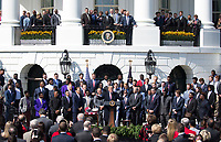 United States President Donald J. Trump speaks during the welcoming of the 2017 NCAA Football National Champions: The Alabama Crimson Tide to the White House in Washington, DC, March 10, 2018. <br /> CAP/MPI/RS<br /> &copy;RS/MPI/Capital Pictures
