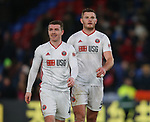 John Fleck of Sheffield Utd  and Jack O'Connell of Sheffield Utd walk to celebrate with the fans during the Premier League match at Selhurst Park, London. Picture date: 1st February 2020. Picture credit should read: Paul Terry/Sportimage