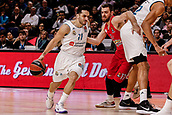 9th February 2018, Wiznik Centre, Madrid, Spain; Euroleague Basketball, Real Madrid versus Olympiacos Piraeus; Facundo Campazzo (Real Madrid Baloncesto) brings the ball foward against Evangelos Mantzaris (OLYMPIACOS BC)