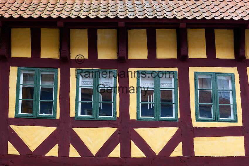 Denmark, Zealand, Koge: facade of Half timbered house | Daenemark, Insel Seeland, Koege: Fassade eines Fachwerkhauses