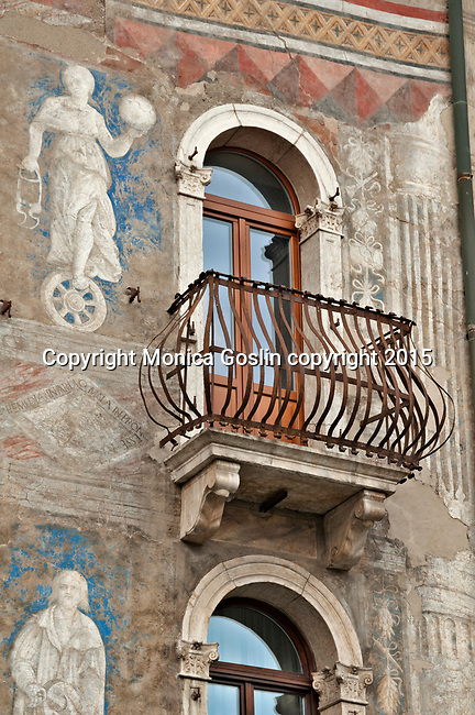 16th century frescos on Casa Rella in Piazza Duomo in Trento, Italy