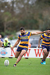 Riley Hohepa attempts to kick a penalty. Counties Manukau Premier Club Rugby game between Waiuku and Patumahoe, played at Waiuku on Saturday April 28th, 2018. Patumahoe won the game 18 - 12 after trailing 10 - 12 at halftime. <br /> Waiuku Brian James Contracting 12 - Apec Togafau, Nathan Millar tries, Christian Walker conversion.<br /> Patumahoe Troydon Patumahoe Hotel 18 - Vernon Comley, Riley Hohepa tries, Riley Hohepa conversion, Riley Hohepa 2 penalties.<br /> Photo by Richard Spranger