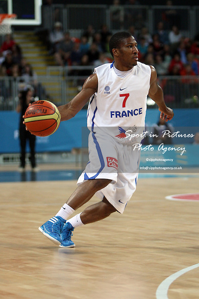 Andrew Albicy (France) in action. France v Australia. The London International Basketball Invitational. London Prepares for Olympics 2012. Basketball Arena, Olympic Park. London. 17/08/2011. MANDATORY Credit Sportinpictures/Paul Chesterton - NO UNAUTHORISED USE - 07837 394578.