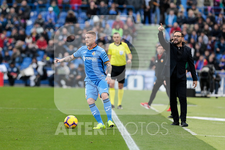Getafe CF's Vitorino Antunes (L) and coach Jose Bordalas (R) during La Liga match between Getafe CF and Valencia CF at Coliseum Alfonso Perez in Getafe, Spain. November 10, 2018.