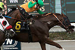 ARCADIA, CA FEBRUARY 10:  #6 Om, ridden by Flavien Prat, wins the Thunder Road Stakes (Grade lll) on February 10, 2018 at Santa Anita Park in Arcadia, CA.(Photo by Casey Phillips/ Eclipse Sportswire/ Getty Images)