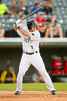 Michael Earley (3) of the Charlotte Knights at bat against the Indianapolis Indians at Knights Stadium on July 22, 2012 in Fort Mill, South Carolina.  The Indians defeated the Knights 17-1.  (Brian Westerholt/Four Seam Images)