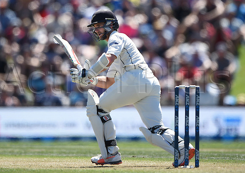 20.02.2016. Christchurch, New Zealand.  Kane Williamson batting. New Zealand Black Caps versus Australia. Day 1, 2nd test match, Hagley Oval in Christchurch, New Zealand. Saturday 20 February 2016.