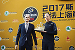 Jean-Etienne Amaury presents the official trophy of &ldquo;Official First Champion of the Tour to come to China&rdquo; to Christopher Froome (GBR) Team Sky at the welcome ceremony at the foot of the monumental Shanghai Oriental Pearl Tower, before the 2017 Tour de France Skoda Shanghai Criterium, Shanghai, China. 28th October 2017.<br /> Picture: ASO/Pauline Ballet | Cyclefile<br /> <br /> <br /> All photos usage must carry mandatory copyright credit (&copy; Cyclefile | ASO/Pauline Ballet)