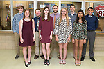 April 21, 2017- Tuscola, IL- The TCHS 2017 Prom King and Queen candidates. King candidates left are Zach Kibler, Logan Grace, Will Bosch, Cordale Kerns, and Tyler Seip. Queen candidates from left are Ashley Bartley, Kaiya Clodfelder, Morgan Day, and Krupa Patel.  [Photo: Douglas Cottle]