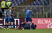 Calcio, Serie A: Roma, stadio Olimpico, 19 marzo, 2017<br /> Sassuolo's Gr&eacute;goire Defrel (r) celebrates with his teammates after scoring during the Italian Serie A football match between Roma and Sassuolo at Rome's Olympic stadium, March 19, 2017<br /> UPDATE IMAGES PRESS/Isabella Bonotto
