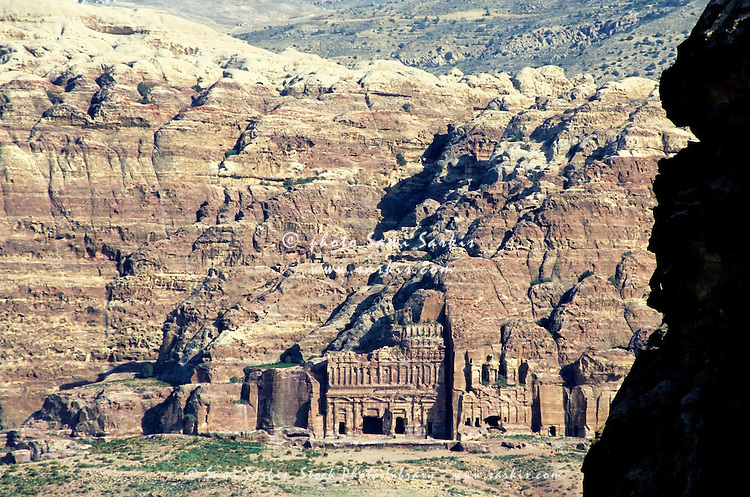 Ancient rock-cut royal tomb in Petra, Jordan.