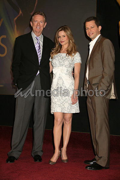 19 July 2007 - North Hollywood, California - Dick Askin, Chairman and CEO of the Academy of Television Arts & Sciences, Kyra Sedgwick and Jon Cryer. 59th Primetime Emmy Awards Nominations Announcements at the Leonard H. Goldenson Theatre. Photo Credit: Byron Purvis/AdMedia