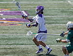 Justin Reh (#11) passes the ball as UAlbany Lacrosse defeats Vermont 14-4  in the American East Conference Championship game at Casey Stadium, May 5.