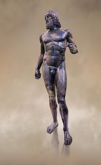 Full length view of the Riace bronze Greek statue A cast about 460 BC. statue A was probably sculpted by Myron. The style of the Riace statues straddles the archaic period and heralds the start of the classical period. Both statues depict strong young naked warriors who stand calmly but exuding great power. Museo Nazionale della Magna Grecia,  Reggio Calabria, Italy.