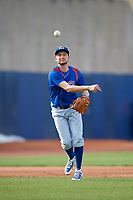 South Bend Cubs third baseman Austin Filiere (21) throws to first base during the first game of a doubleheader against the Lake County Captains on May 16, 2018 at Classic Park in Eastlake, Ohio.  South Bend defeated Lake County 6-4 in twelve innings.  (Mike Janes/Four Seam Images)