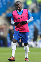 Ngolo Kante of Chelsea warms up ahead of the Premier League match between Chelsea and Newcastle United at Stamford Bridge, London, England on 2 December 2017. Photo by David Horn.