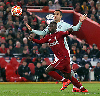 Liverpool's Naby Keita vies for possession with Bayern Munich's Thiago Alcantara<br /> <br /> Photographer Rich Linley/CameraSport<br /> <br /> UEFA Champions League Round of 16 First Leg - Liverpool and Bayern Munich - Tuesday 19th February 2019 - Anfield - Liverpool<br />  <br /> World Copyright © 2018 CameraSport. All rights reserved. 43 Linden Ave. Countesthorpe. Leicester. England. LE8 5PG - Tel: +44 (0) 116 277 4147 - admin@camerasport.com - www.camerasport.com