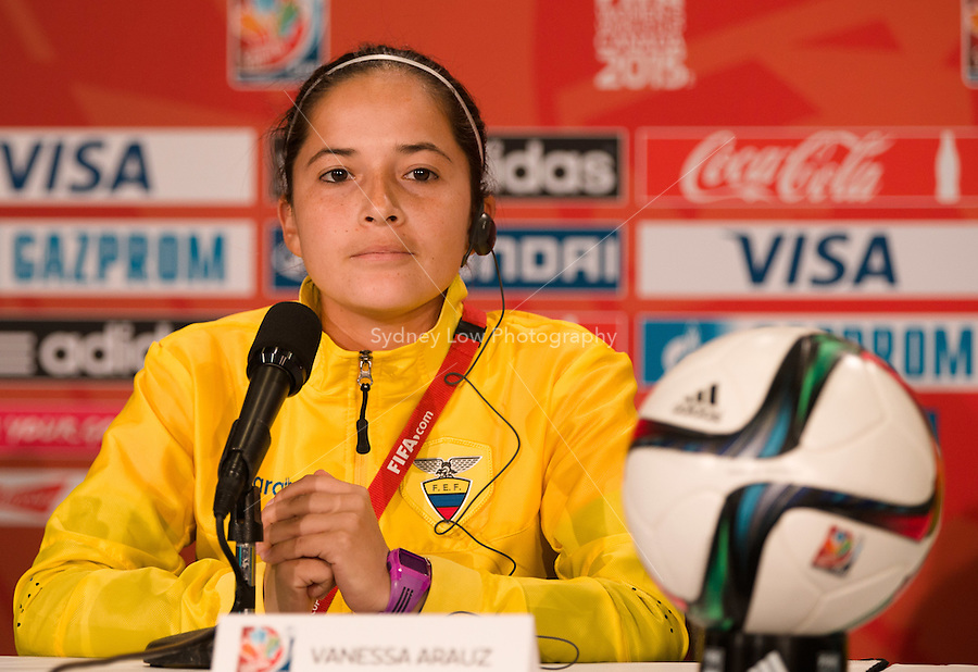 June 7, 2015: Vanessa ARAUZ, coach of Ecuador speaks at the prematch press conference ahead of a Group C match at the FIFA Women's World Cup Canada 2015 between Cameroon and Ecuador at BC Place Stadium on 8 June 2015 in Vancouver, Canada. Sydney Low/AsteriskImages