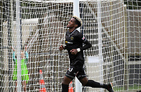 Team Wellington's Nati Hailemariam celebrates his hat-trick during the 2018 OFC Champions League Quarterfinal between Team Wellington and Lae City Dwellers FC at David Farrington Park in Wellington, New Zealand on Saturday, 7 April 2018. Photo: Dave Lintott / lintottphoto.co.nz