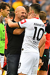 11.08.2019, Carl-Benz-Stadion, Mannheim, GER, DFB Pokal, 1. Runde, SV Waldhof Mannheim vs. Eintracht Frankfurt, <br /> <br /> DFL REGULATIONS PROHIBIT ANY USE OF PHOTOGRAPHS AS IMAGE SEQUENCES AND/OR QUASI-VIDEO.<br /> <br /> im Bild: Bernhard Trares (Trainer SV Waldhof Mannheim) mit Filip Kostic (Eintracht Frankfurt #10)<br /> <br /> Foto © nordphoto / Fabisch
