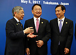 May 5, 2017, Yokohama, Japan -  Bank of Japan Governor Haruhiko Kuroda (L) shares smiles with South Korean Finance Minister Yoo Il-ho (C) and Bank of Korea Governor Lee Juyeol (R) before starting the Japan, China and South Korea trilateral finance ministers and central bank governor's meering during the Asian Development Bank (ADB) annual meeting in Yokohama, suburban Tokyo on Friday, May 5, 2017. ADB started a four-day session for its annual meeting to celebrate the 50th anniversary of the ADB.   (Photo by Yoshio Tsunoda/AFLO) LwX -ytd-
