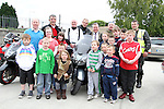"""Principal Michael Moley,  with Mayor Paul Bell and some of the Motorcyclists and children before the """"Run of the Country"""" Motorcycle fundraiser at St.Itas school....(Photo credit should read Jenny Matthews www.newsfile.ie)....This Picture has been sent you under the conditions enclosed by:.Newsfile Ltd..The Studio,.Millmount Abbey,.Drogheda,.Co Meath..Ireland..Tel: +353(0)41-9871240.Fax: +353(0)41-9871260.GSM: +353(0)86-2500958.email: pictures@newsfile.ie.www.newsfile.ie."""