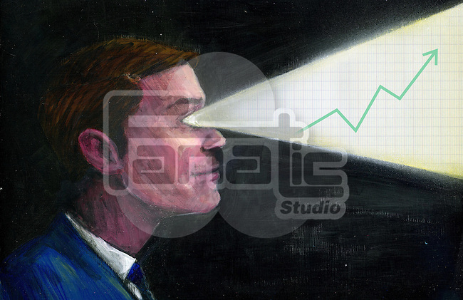 Illustrative image of progressive graph coming out through businessman's eyes representing leader's vision