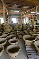 Pots ready for firing, the Mori Touki kiln (Otani pottery), Naruto, Tokushima Prefecture, Japan, July 8, 2014. The city of Naruto in Tokushima Japan is famous for whirlpools that form in the Naruto Strait. It is home to Otani pottery and the first two temples on the Shikoku 88 temple pilgrimage.