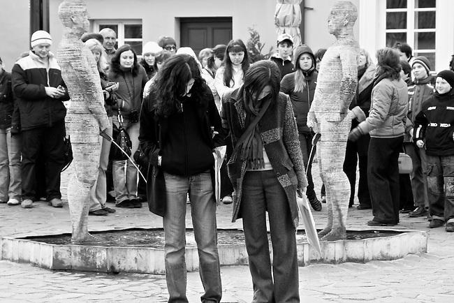 Outside the Kafka Museum in Prague, Czech Republic. March 27, 2008.
