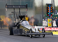 Mar 13, 2015; Gainesville, FL, USA; NHRA top fuel driver Shawn Langdon during qualifying for the Gatornationals at Auto Plus Raceway at Gainesville. Mandatory Credit: Mark J. Rebilas-