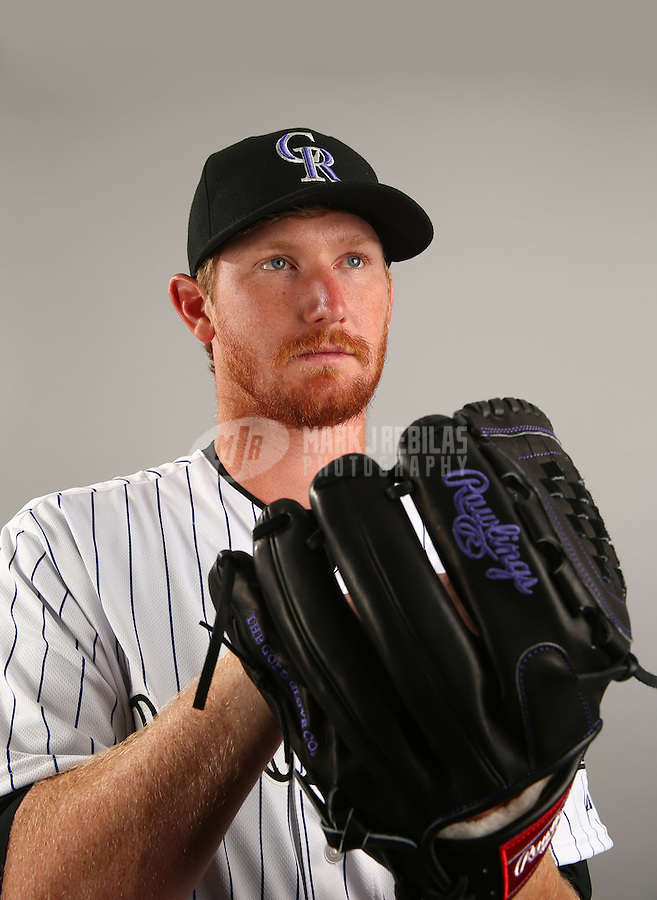 Mar 1, 2015; Scottsdale, AZ, USA; Colorado Rockies pitcher Eddie Butler poses for a portrait during photo day at Salt River Fields. Mandatory Credit: Mark J. Rebilas-USA TODAY Sports