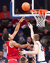 Jan 24, 2018; Champaign, IL, USA; Indiana Hoosiers forward Justin Smith (3) shoots defended by Illinois Fighting Illini forward Michael Finke (43) during the first half at State Farm Center. Mandatory Credit: Mike Granse-USA TODAY Sports