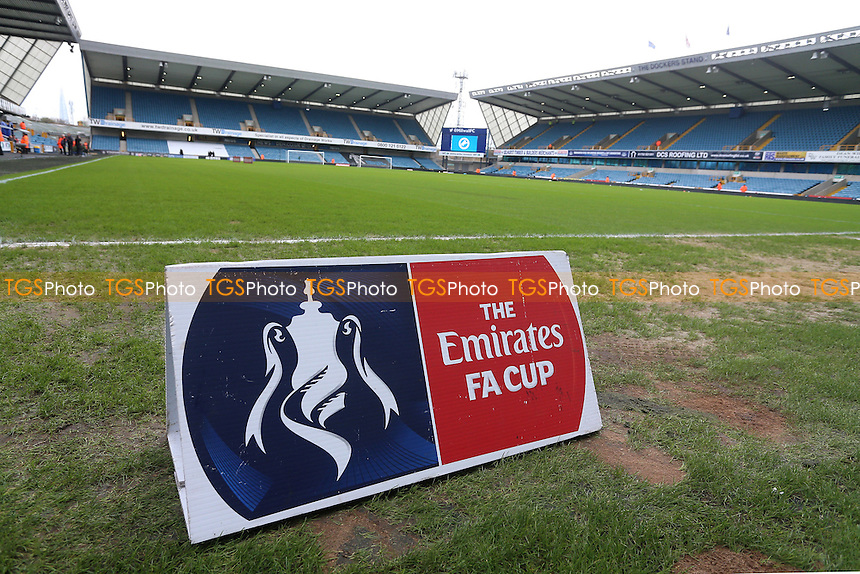 General view of the ground and FA Cup signage ahead of Millwall vs Watford, Emirates FA Cup Football at The Den on 29th January 2017