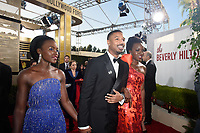 Lupita Nyong'o, Michael B. Jordan and Danai Gurira arrive at the 76th Annual Golden Globe Awards at the Beverly Hilton in Beverly Hills, CA on Sunday, January 6, 2019.<br /> *Editorial Use Only*<br /> CAP/PLF/HFPA<br /> Image supplied by Capital Pictures