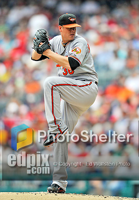 19 June 2011: Baltimore Orioles' pitcher Chris Jakubauskas on the mound facing the Washington Nationals on Father's Day at Nationals Park in Washington, District of Columbia. The Orioles defeated the Nationals 7-4 in inter-league play, ending Washington's 8-game winning streak. Mandatory Credit: Ed Wolfstein Photo
