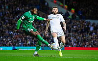 Sheffield Wednesday's Dominic Iorfa vies for possession with Leeds United's Stuart Dallas<br /> <br /> Photographer Chris Vaughan/CameraSport<br /> <br /> The EFL Sky Bet Championship - Leeds United v Sheffield Wednesday - Saturday 11th January 2020 - Elland Road - Leeds<br /> <br /> World Copyright © 2020 CameraSport. All rights reserved. 43 Linden Ave. Countesthorpe. Leicester. England. LE8 5PG - Tel: +44 (0) 116 277 4147 - admin@camerasport.com - www.camerasport.com